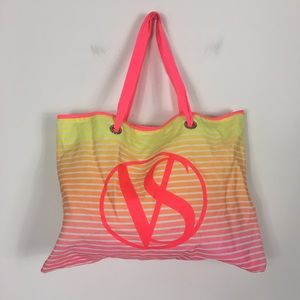 VS Yellow and Pink Striped Beach Bag